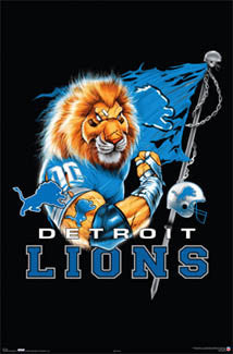 "Detroit Lions ""Ferocious"" NFL Team Theme Art Poster - Costacos Sports 2006"