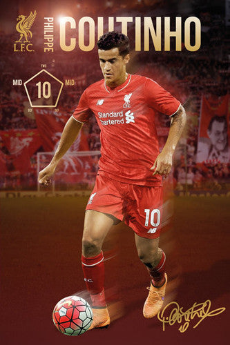 "Philippe Coutinho ""Signature Series"" Liverpool FC Official EPL Soccer Poster - GB Eye 2015/16"