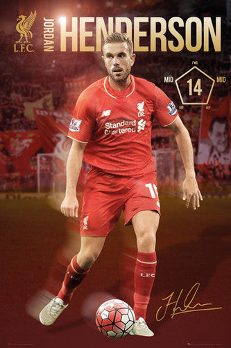 "Jordan Henderson ""Signature Series"" Liverpool FC Official EPL Soccer Poster - GB Eye 2015/16"