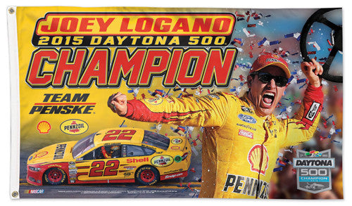 Joey Logano 2015 Daytona 500 Champion Official NASCAR Deluxe 3'x5' Collectible Banner Flag