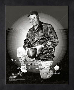"Vince Lombardi ""Get Up"" Green Bay Packers Coach FRAMED 16x20 PRO QUOTES PRINT - Photofile"