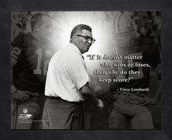 "Vince Lombardi ""Keep Score"" Green Bay Packers FRAMED 16x20 PRO QUOTES PRINT - Photofile"