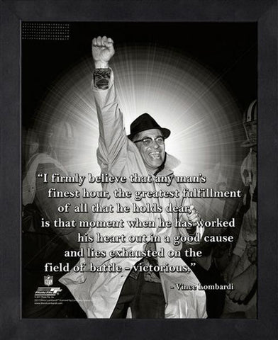 "Vince Lombardi ""Victorious"" Green Bay Packers FRAMED 16x20 PRO QUOTES PRINT - Photofile"
