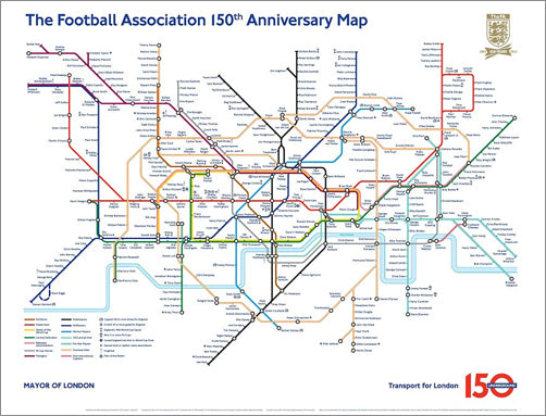 London Underground's Football Association 150th Anniversary Tribute Map Poster - London Transport Museum