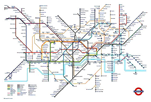 London Underground Transport Tube Train Map Poster - London Transport Museum