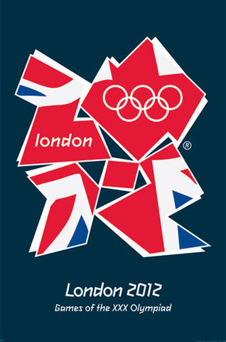"London 2012 Olympics ""Union Jack"" Official Logo Poster - Pyramid UK"