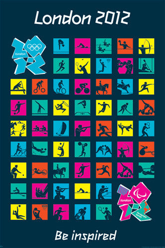 "London 2012 Olympics ""All Sports"" Official Pictograms Poster - Pyramid UK"