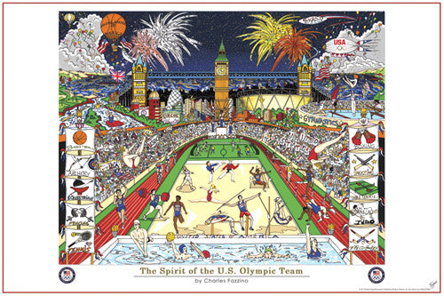 "London 2012 ""The Spirit of the US Olympic Team"" by Charles Fazzino - Pyramid America"