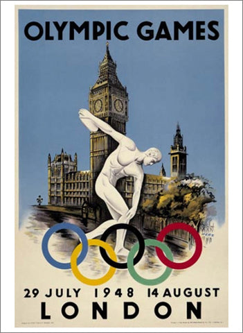 London 1948 Summer Olympic Games Official Poster Reprint - Olympic Museum