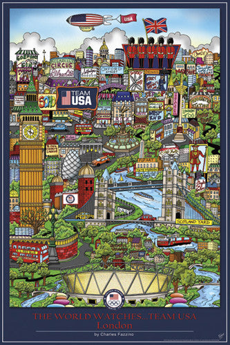"London 2012 ""The World Watches Team USA"" Poster - Pyramid America"