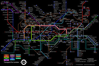 London Underground Official Subway Train Map - Pyramid (UK)