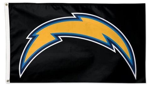 "Los Angeles Chargers ""Thunderbolt on Black"" Official NFL Football 3'x5' DELUXE Team Flag - Wincraft Inc."
