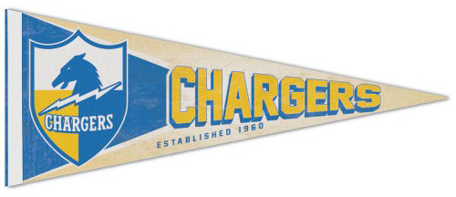 Los Angeles Chargers NFL Retro 1960s AFL-Style Premium Felt Collector's Pennant - Wincraft Inc.