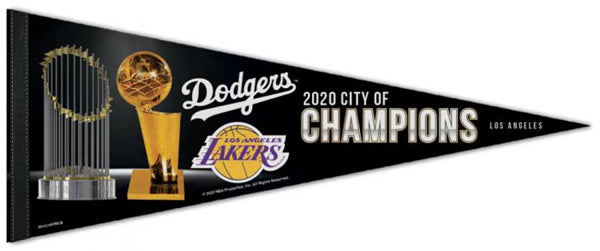 Los Angeles 2020 CITY OF CHAMPIONS Dodgers and Lakers Championship Premium Felt Collector's Pennant - Wincraft