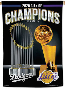 Los Angeles 2020 CITY OF CHAMPIONS Dodgers and Lakers Premium 28x40 Wall Banner - Wincraft Inc.