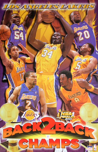 Los Angeles Lakers Back 2 Back Nba Champions 2001 Poster Starline Inc Sports Poster Warehouse
