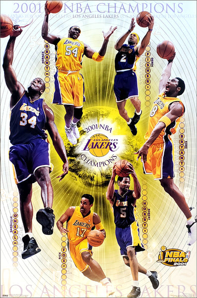 Los Angeles Lakers 2001 NBA Champions 6-Player Commemorative Poster - Costacos Sports