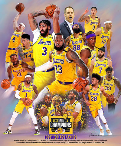 "Los Angeles Lakers ""LeBron's Will"" 2020 NBA Champions Premium Art Collage Poster - Wishum Gregory"