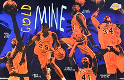 "Los Angeles Lakers ""Gold Mine"" Poster (Kobe Bryant, Shaq, Van Exel, Jones, Campbell) - Costacos 1996"