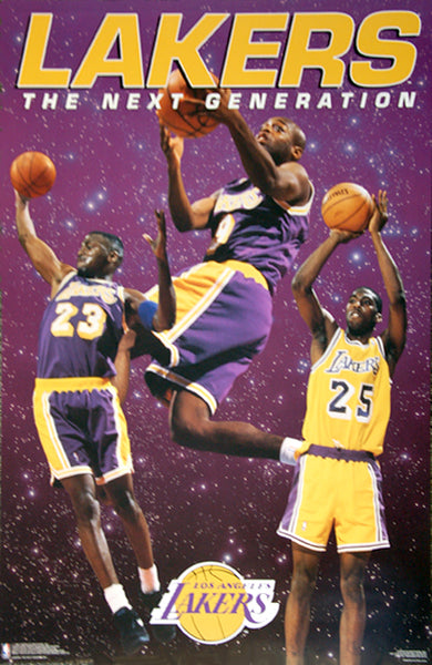"L.A. Lakers ""Next Generation"" (Ceballos, Van Exel, Jones) Poster - Costacos 1995"