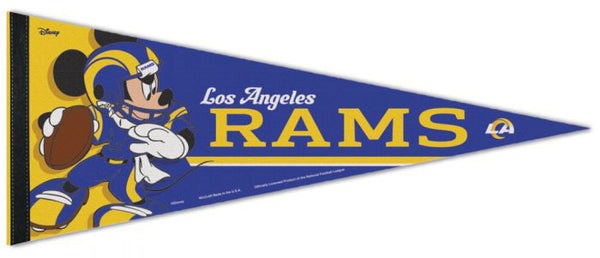 "Los Angeles Rams ""Mickey QB Gunslinger"" Official NFL/Disney Premium Felt Pennant - Wincraft 2020"