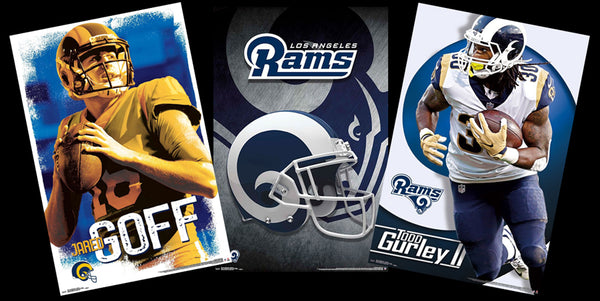 COMBO: Los Angeles Rams NFL Football 3-Poster Combo (Jared Goff, Gurley, Helmet Logo Posters)