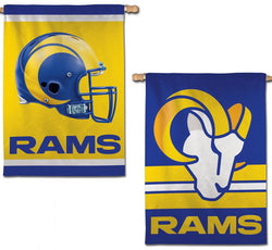 Los Angeles Rams Official NFL Football Team Logos 2-Sided 28x40 Wall BANNER - Wincraft 2020