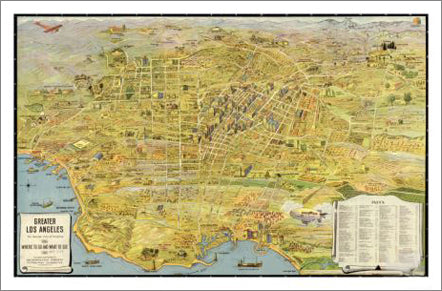 image regarding Printable Maps of Los Angeles named Los Angeles, California 1932 Clic Aerial Map Quality Poster Print - McGaw Graphics