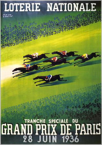 Horse Racing Grand Prix de Paris 1936 (Artist Paul Colin) Vintage XL Poster Reproduction - Pro Artis