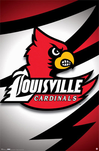 University of Louisville Cardinals Official NCAA Logo Poster - Costacos Sports