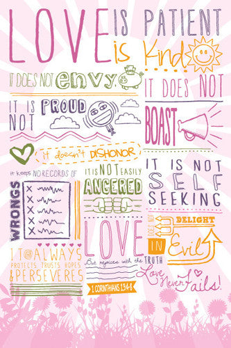 Love is Patient (I Corinthians 13:4-8) Girls Inspirational Poster - Slingshot Publishing