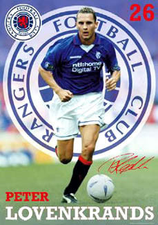 "Peter Lovenkrands ""Signature"" Glasgow Rangers SPL Poster - GB 2002"