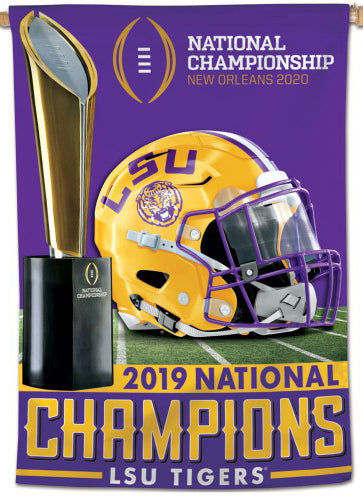 LSU Tigers 2019 NCAA Football Champions Official Wall BANNER Flag - Wincraft Inc.