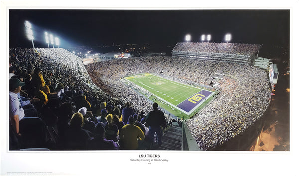 "LSU Tigers ""Saturday Evening in Death Valley"" Tiger Stadium Game Night Panoramic Poster Print - SPI 2005"