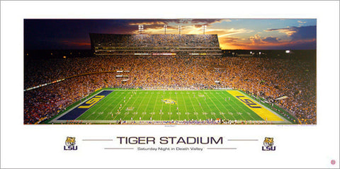 "LSU Tigers Football ""Tiger Stadium Saturday Night"" Panoramic Poster - Rick Anderson"