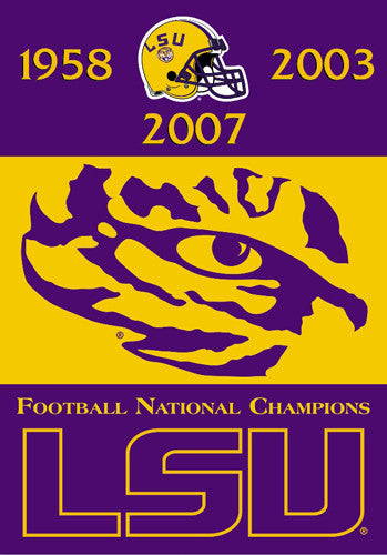 LSU Tigers Football 3 Time NCAA National Champions Premium Banner Flag
