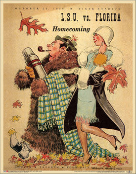 "LSU Tigers Football ""Homecoming '58"" Vintage Program Cover Poster Print - Asgard Press"