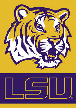 "LSU Tigers ""Tiger Head"" Premium Wall Banner - BSI Products"