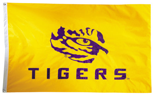 LSU Tigers Official NCAA Premium Nylon Applique 3'x5' Flag - BSI Products Inc.