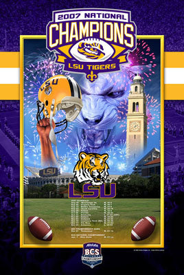 LSU Tigers Football 2007 National Champions Commemorative Poster - Action Images Inc.