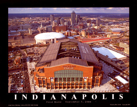 "Indianapolis Colts Lucas Oil Stadium ""From Above"" Premium Poster Print - Aerial Views"