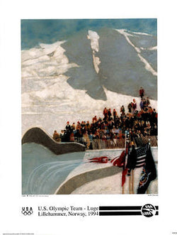 US Olympic LUGE Team - Lillehammer 1994 Olympics - Official Poster - Fine Art Ltd.