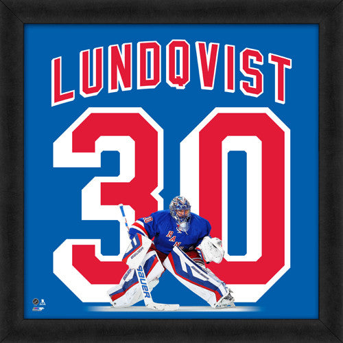 "Henrik Lundqvist ""Number 30"" New York Rangers FRAMED 20x20 UNIFRAME PRINT - Photofile"