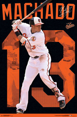 "Manny Machado Baltimore Orioles ""Signature Series"" Official MLB Action Poster - Trends 2017"