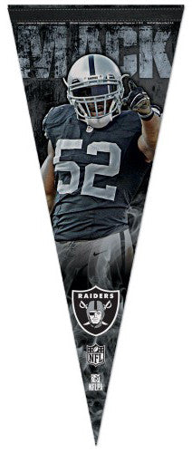 "Khalil Mack ""Superstar"" Oakland Raiders Premium Felt Collector's PENNANT - Wincraft 2016"