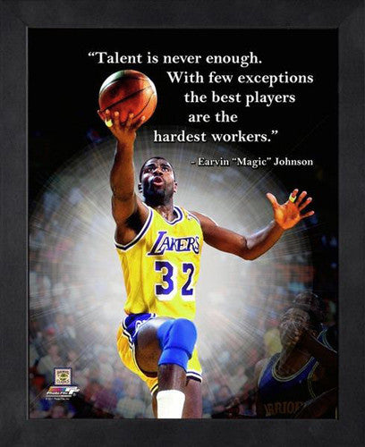 "Magic Johnson ""Hardest Workers"" L.A. Lakers FRAMED 16x20 PRO QUOTES PRINT - Photofile"