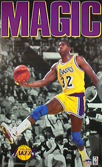 "Magic Johnson ""Drive"" Los Angeles Lakers Poster - Starline Inc. 1991"