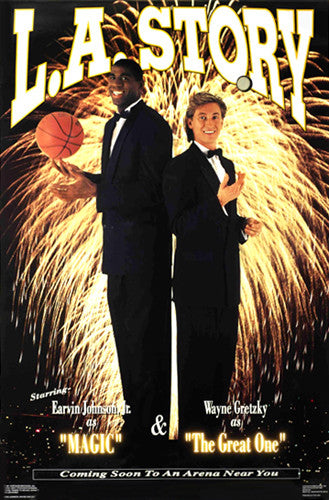 "Magic Johnson and Wayne Gretzky ""LA Story"" Poster - Costacos Brothers 1991"