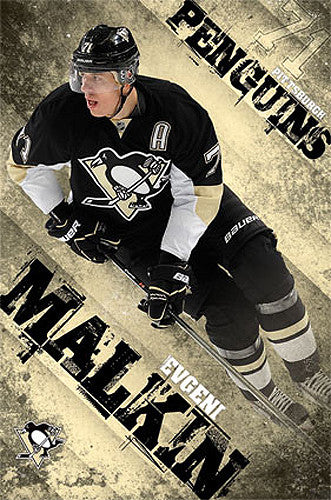 "Evgeni Malkin ""Golden Geno"" Pittsburgh Penguins NHL Action Poster - Costacos 2013"