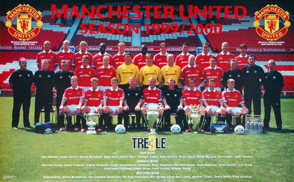 Manchester United FC Official 1999/2000 Team Portrait Poster - Starline Inc.